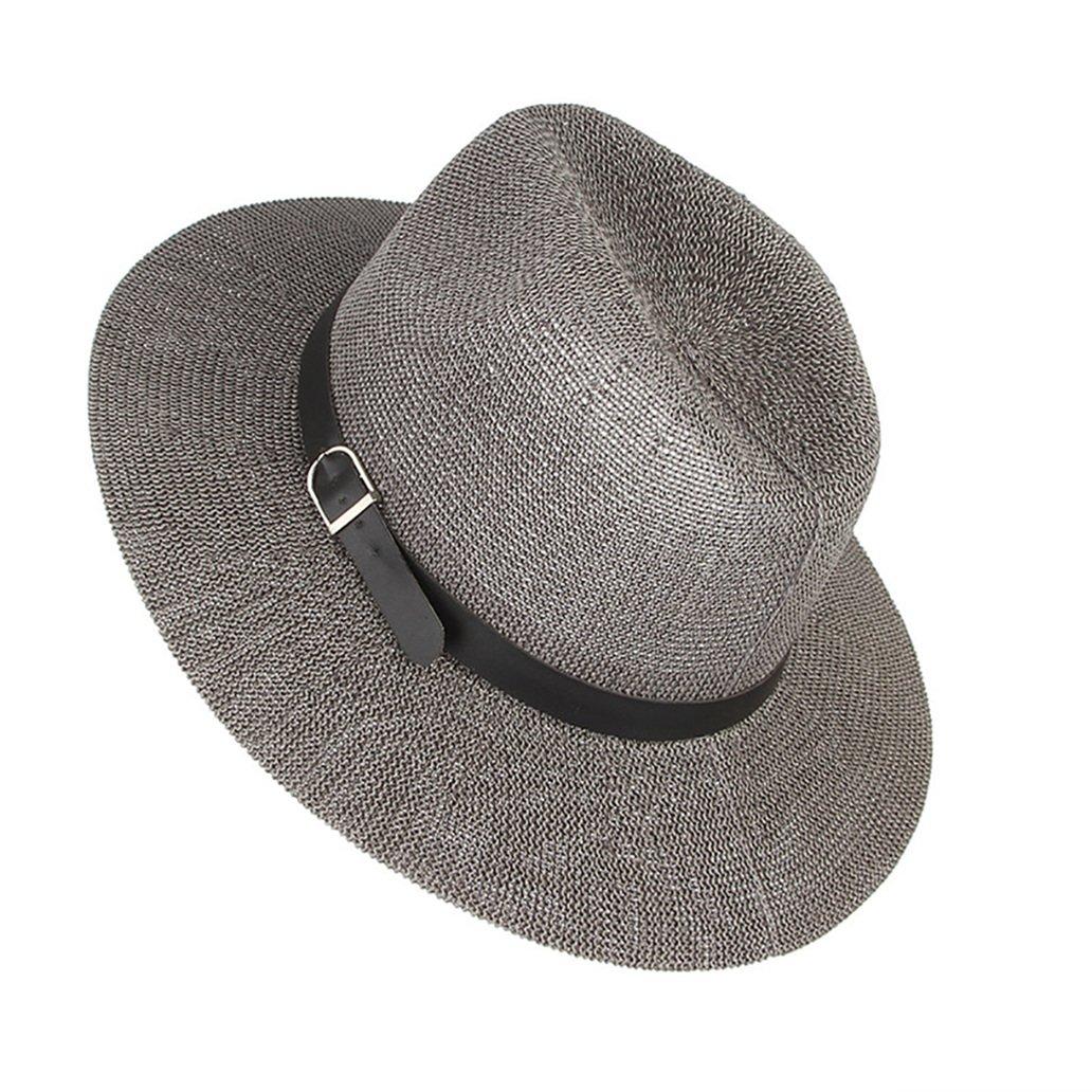 Mens Summer Sun Hats Beach Breathable Wide Brim Jazz Straw Hat