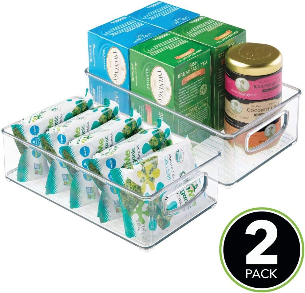 Amazon Com Mdesign Plastic Kitchen Pantry Cabinet Refrigerator Or Freezer Food Storage Bins With Handles Organizer For Fruit Yogurt Snacks Pasta Food Safe Bpa Free 6 Wide 2 Pack Clear