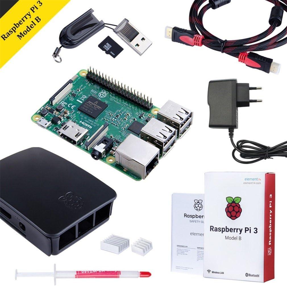Raspberry Pi 3 Modelo B Starter Kit Desktop Quad-Core 1.2 GHz 1GB RAM con Accesorios como Regalo (32GB Micro SD, Cable HDMI, Caja Negra y Cargador): Amazon.es: Informática
