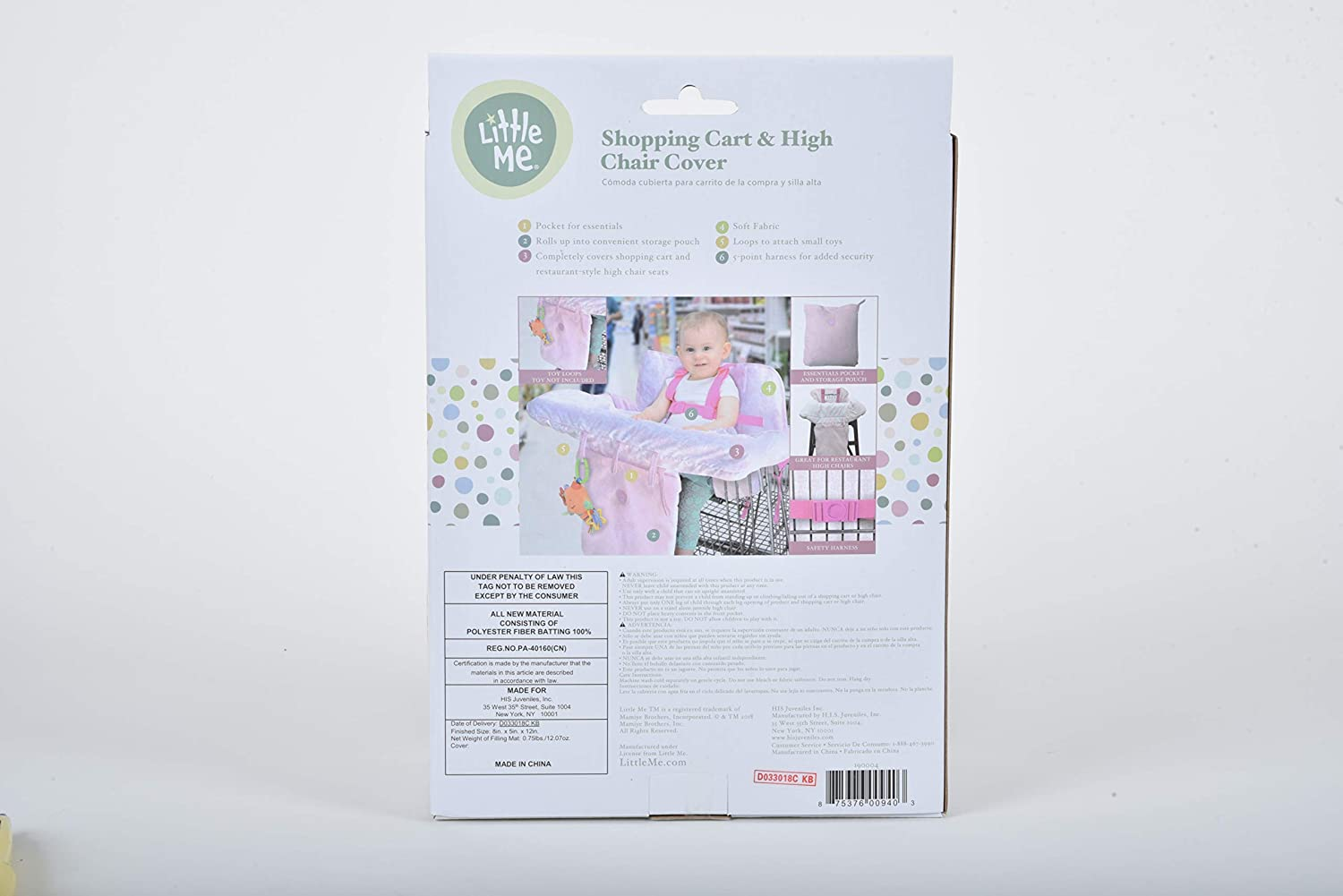 Amazon.com : Little Me Baby Shopping Cart Cover and High Chair Cover 2 in 1, Damask : Baby