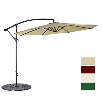 Cloud Mountain 10 Ft Patio Umbrella Offset Cantilever Hanging Outdoor 8  Steels Ribs 100% Polyester