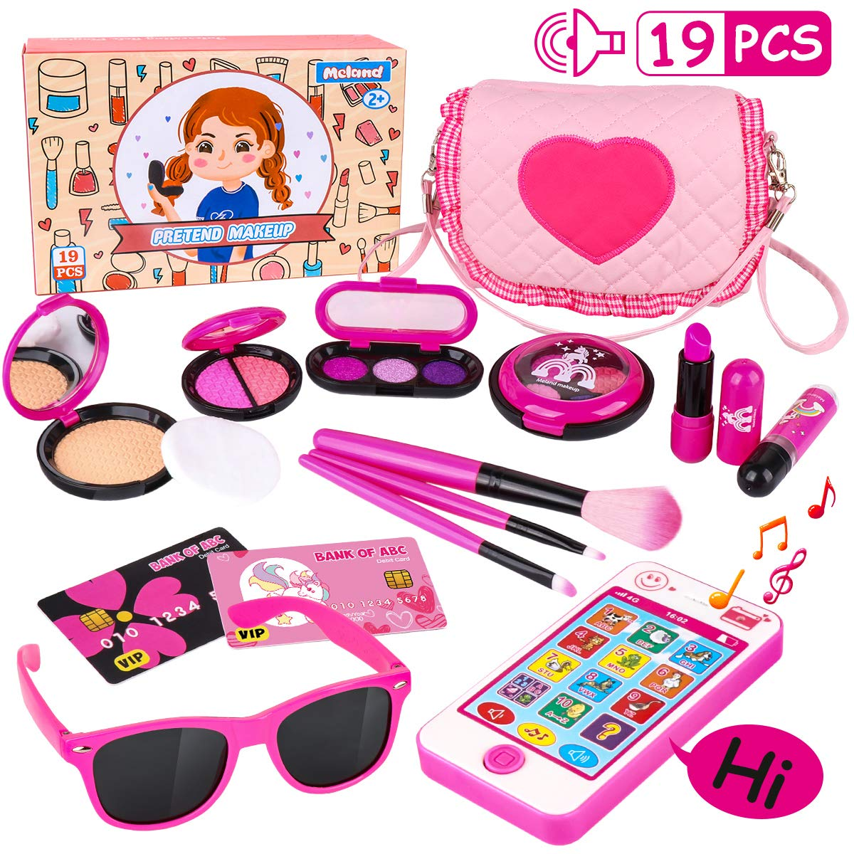 Kids Makeup Kit - Girl Pretend Play Makeup & My First Purse Toy for Toddler Gifts Including Pink Princess Purse, Smartphone, Sunglasses, Credit Card, Lipstick, Brush, Lights Up & Make Real Life Sounds by Meland