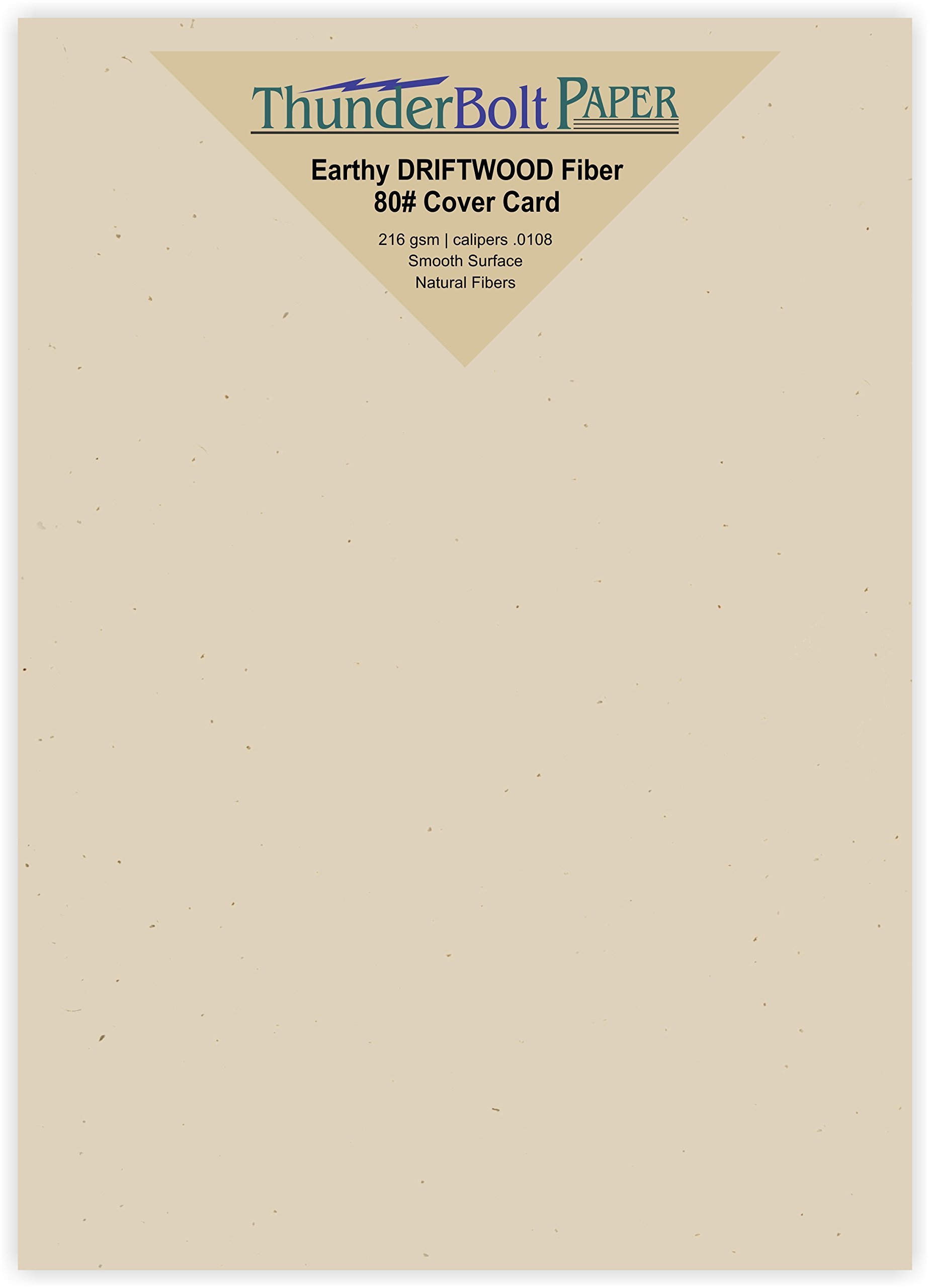 300 Earthy Driftwood Tan Fiber 80# Cover Paper Sheets - 5.5'' X 8.5'' (5.5X8.5 Inches) Half Letter | Statement Size - Light Tan Color with Natural Fibers - Smooth Finish