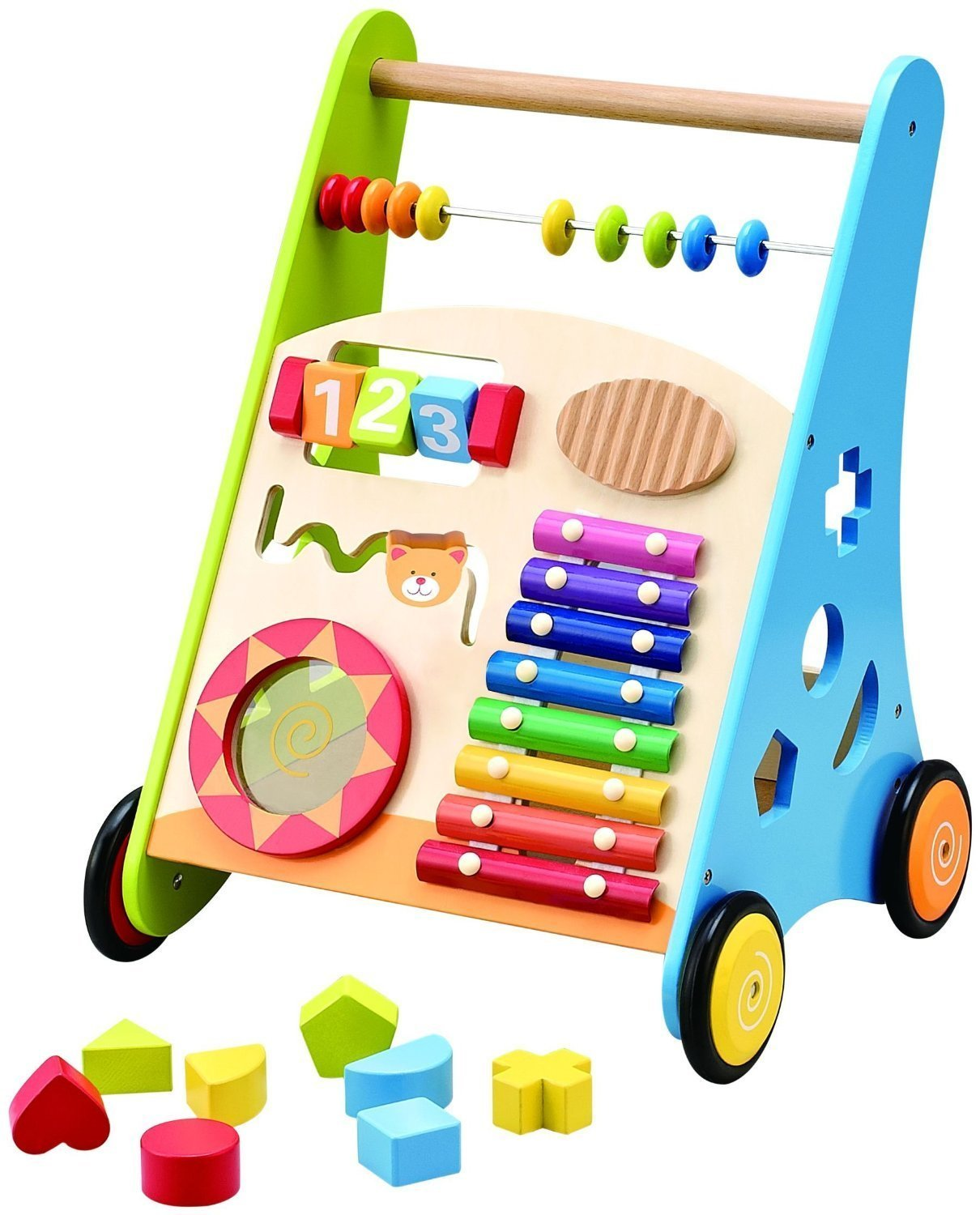 Pidoko Kids Block and Roll Cart - Wooden Push and Pull Baby Walker with Multiple Activity Centre by Pidoko Kids (Image #4)