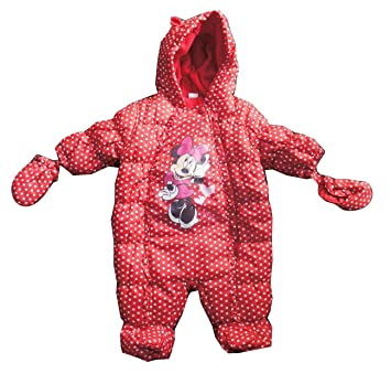 6bfa33ab8 DISNEY Minnie Mouse Red Polka Dot Baby All In One Water Resistant SnowSuit  - 3/6 Months: Amazon.co.uk: Baby