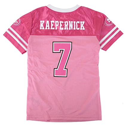 dabcc32a Outerstuff Colin Kaepernick NFL San Francisco 49ers Fashion Pink Jersey  Youth Girls (4-16)