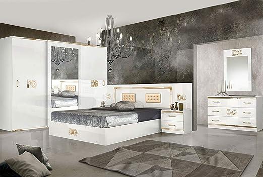 LIGNEUBLE Gala Lacada Blanco Y Dorado Dormitorio Diseño: la composición con el Armario de 3 Puertas correderas + la Cama 160 + los 2 caballetes + la cómoda + el Espejo: Amazon.es: Hogar