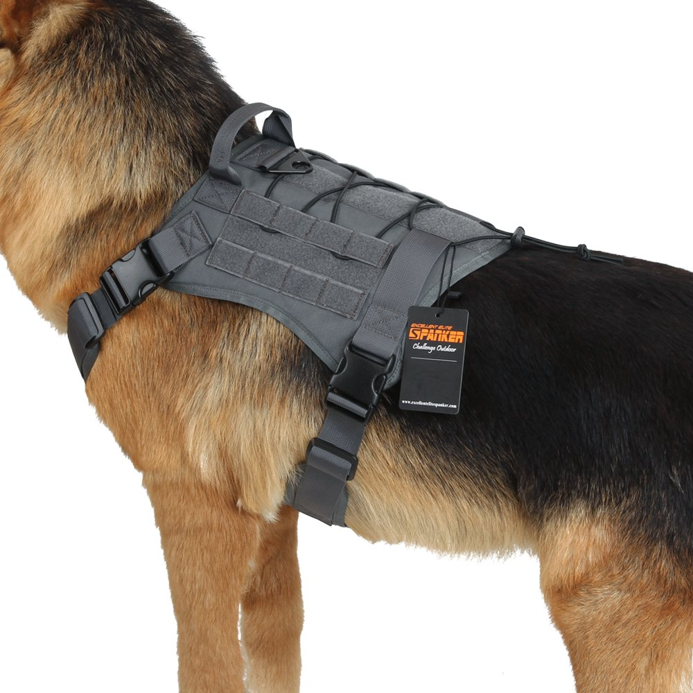 Grey M Grey M Excellent Elite Spanker Tactical Service Dog Vest Training Hunting Molle Nylon Water-resistan Military Patrol Adjustable K9 Dog Harness with Handle(Grey-M)