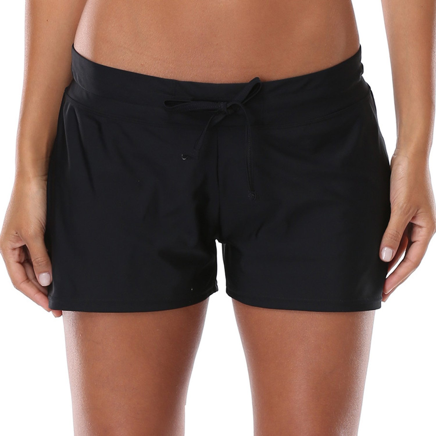 Vegatos Womens Solid Boardshorts Swimming Shorts Swim Bottoms Surfing Boyshorts Black by Vegatos (Image #2)