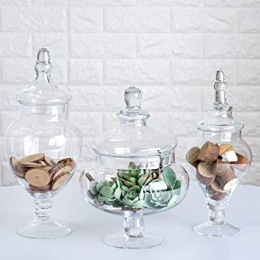 Efavormart Set of 3 Clear Apothecary Glass Candy Jars with Lids - 12 /13 /14