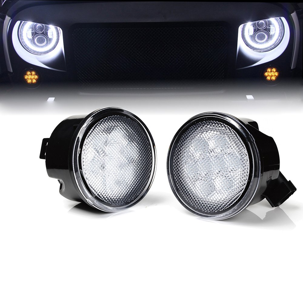 Xprite LED Turn Signal Light for 2014-2018 Jeep Wrangler JK/JKU Smoked Lens Replacement Side Marker Signals Lights Assembly TS-JEEP-JK-SMK-G1
