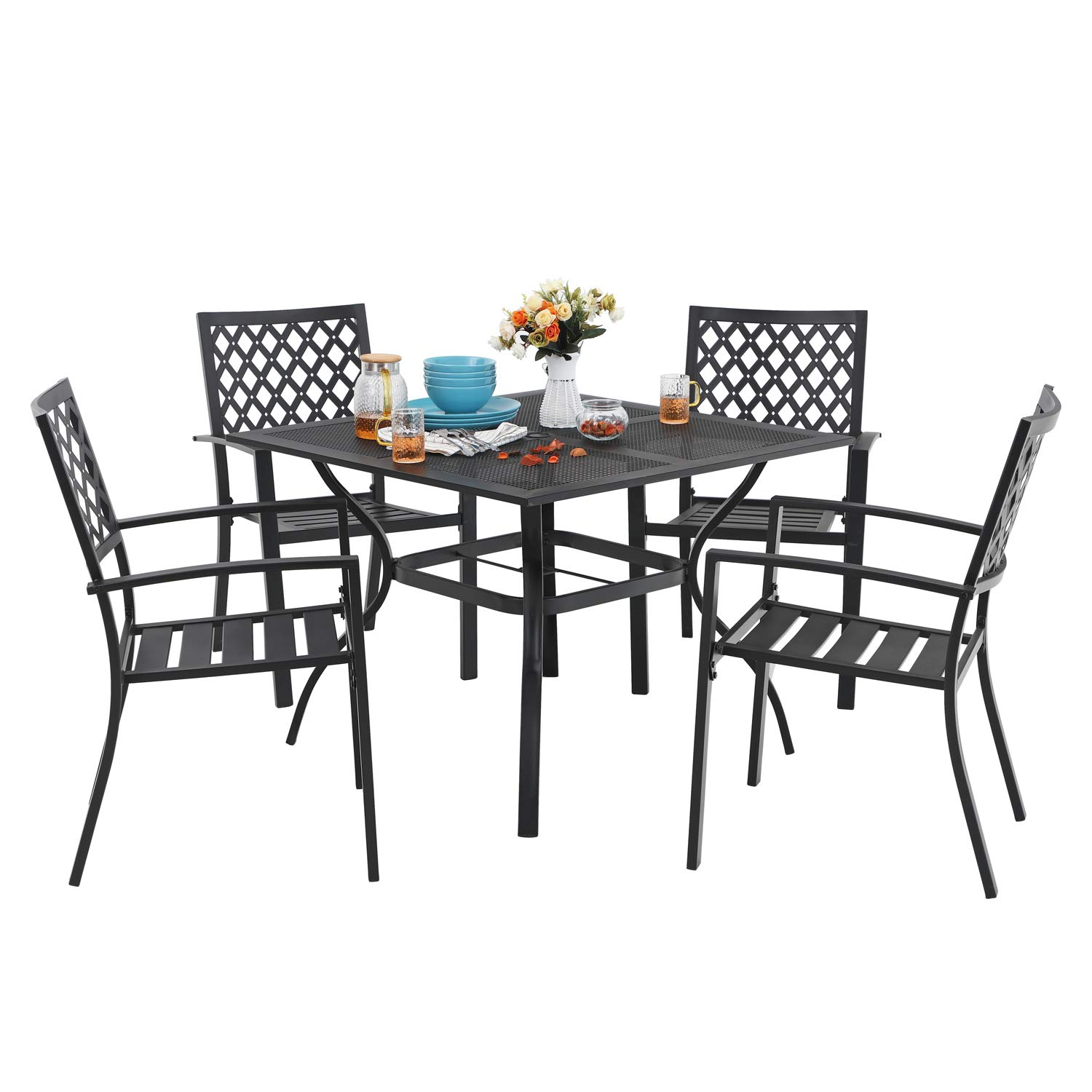 MF 5 Piece Outdoor Patio Metal Dining Sets - 37'' Square Mesh Patio Bistro Table with Umbrella Hole and Armrest Dining Chairs, Black by MF