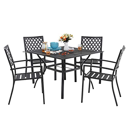 MF 5 Piece Outdoor Patio Metal Dining Sets – 37 Square Mesh Patio Bistro Table with Umbrella Hole and Armrest Dining Chairs, Black