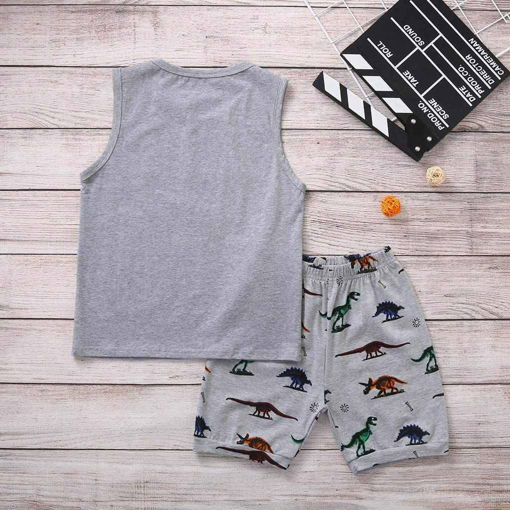 Striped Shorts Pants Pajama Gifts MORETIME 2020 Infant Baby Girl Boy Summer Sleeveless Pjs Clothing 2Pcs Set Suit Outfits Cartoon Whale Dinosaur Fox Printed Tee Shirt Tops