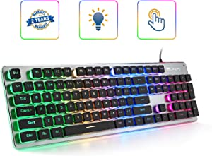 LANGTU Membrane Gaming Keyboard, Colorful LED Backlit Quiet Keyboard for Study, All-Metal Panel USB Wired 25 Keys Anti-ghosting Computer Keyboard 104 Keys - L1 Black/Silver