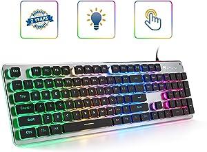 LANGTU Membrane Gaming Keyboard, Colorful LED Backlit Quiet Keyboard for Study, All-Metal Panel USB Wired 25 Keys Anti-ghosting Computer Keyboard 104 Keys - L1 Black/Silver