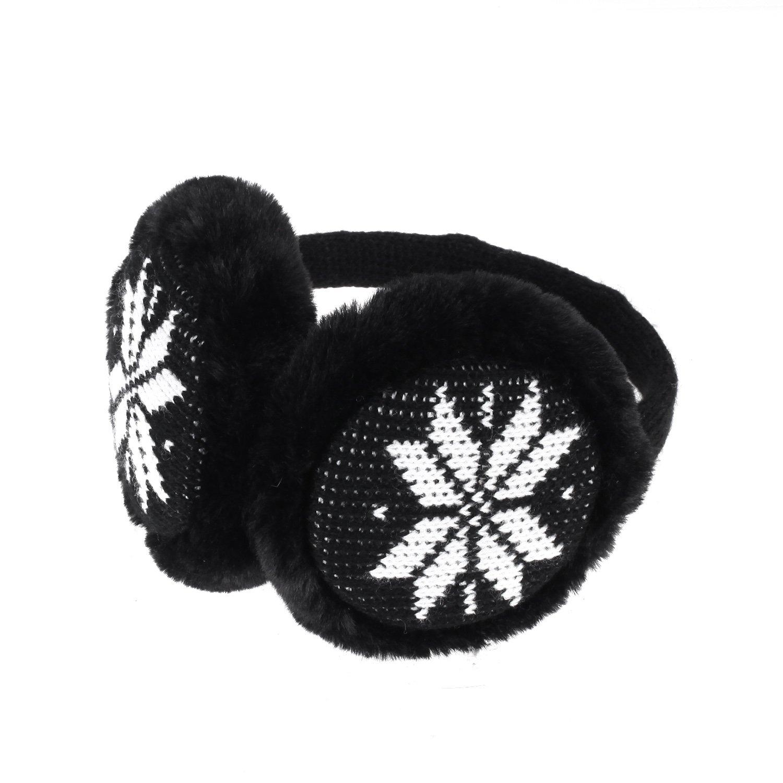 Hey Song Unisex Foldable Earmuffs Warm Knit Ear Warmers Men Women Fleece Winter EarMuffs Portable Design - Black Snowflake, One Size