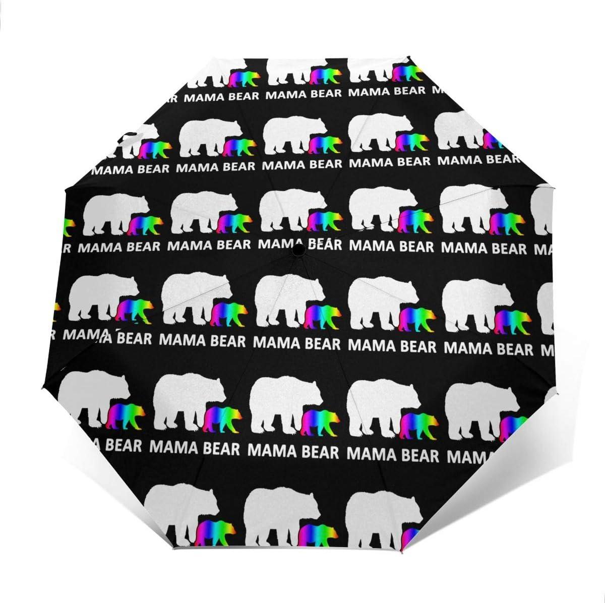 LGBT Mom Bear Automatic Tri-Fold Umbrella Parasol Sun Umbrella Sunshade