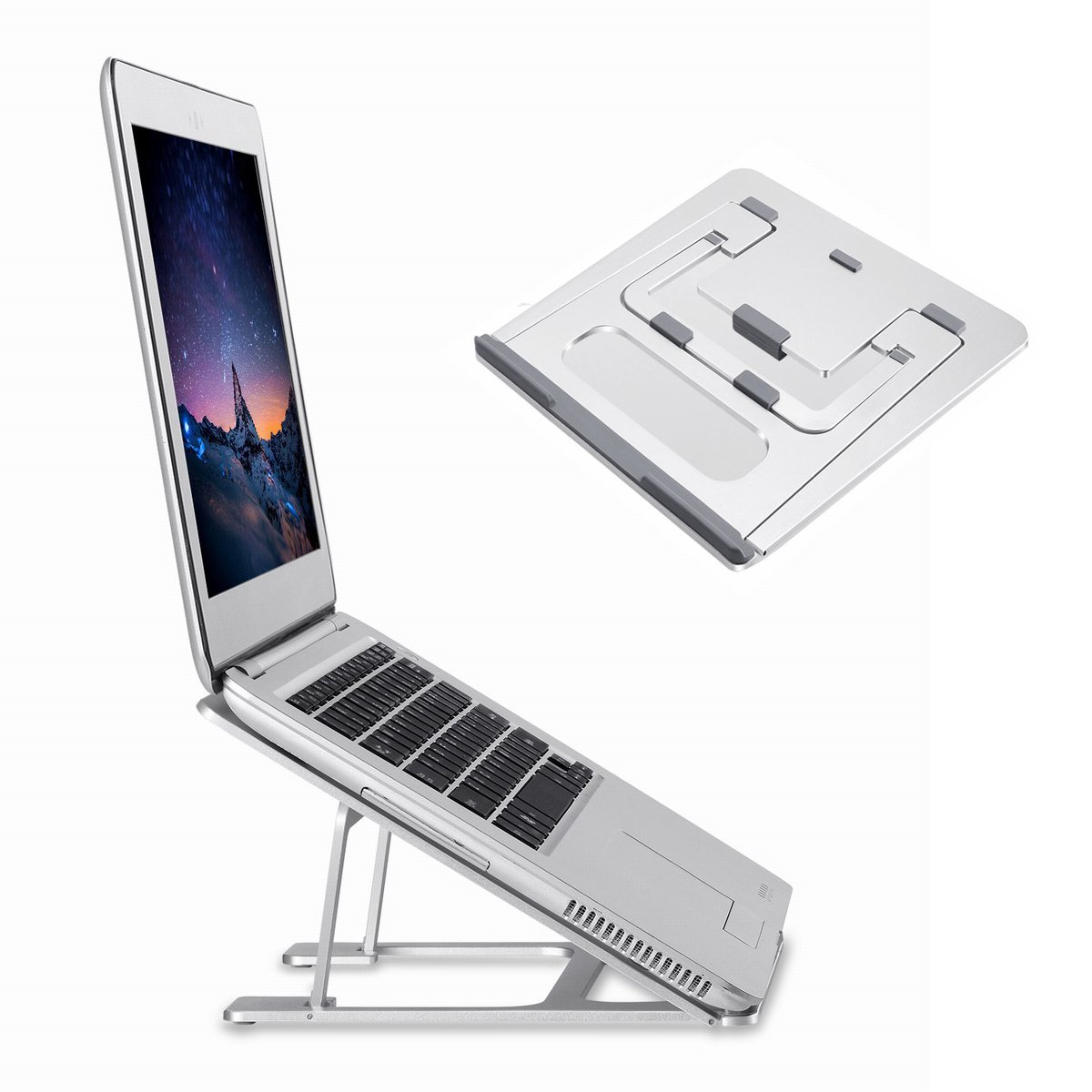 "Folding Aluminum Macbook Stand HONGUO Universal 6 Angles Adjustable Desktop Ventilated Laptop Stand for 7-15"" Notebook/ iPad / Tablets (For Slim Laptops Only)"