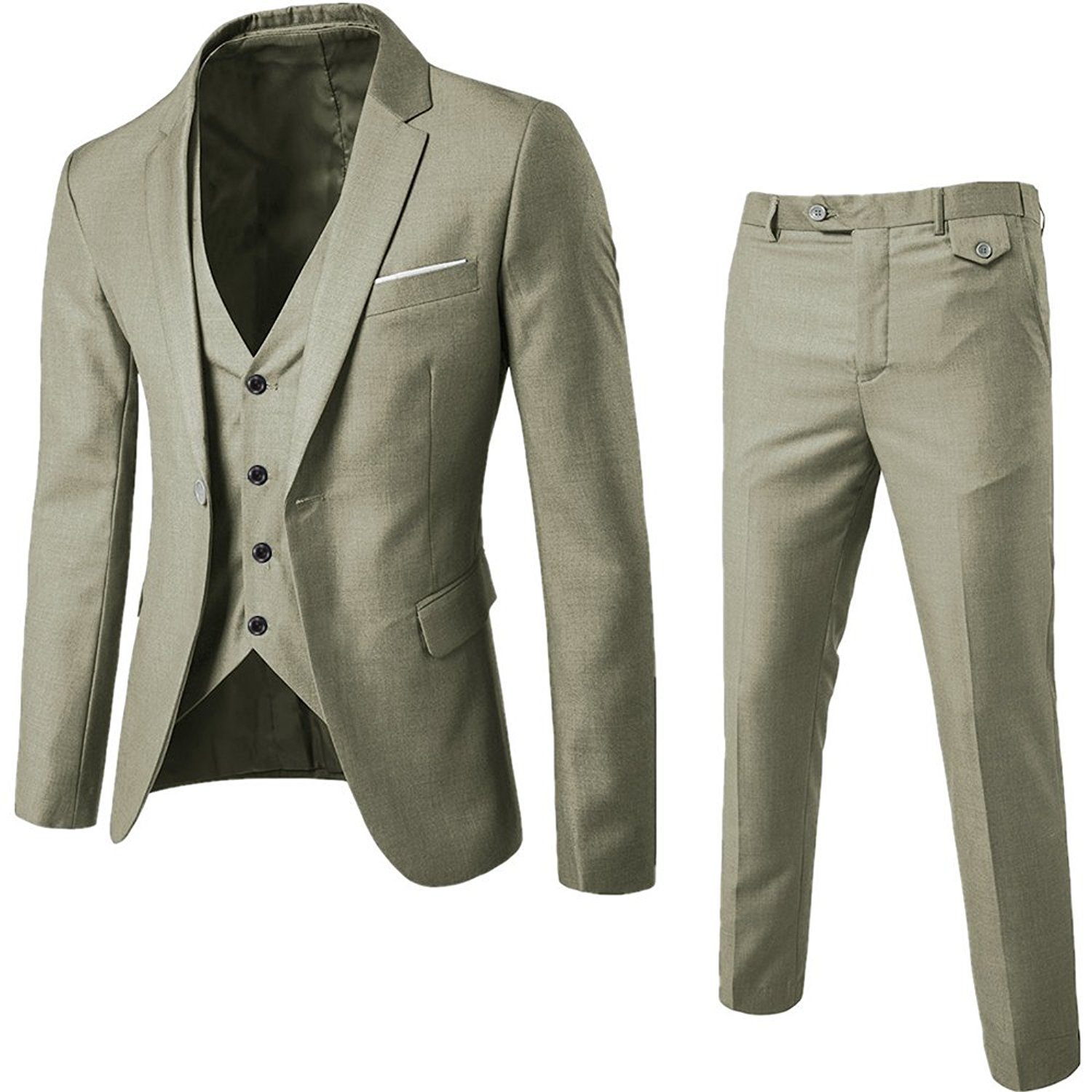 WEEN CHARM Mens Suits Single Breasted One Button Slim Fit 3 Pieces Suit