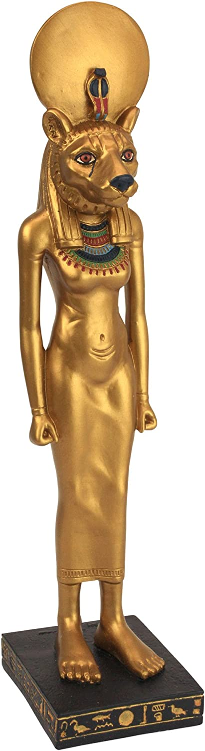 Design Toscano WU68010 Sekhmet Lion Goddess of the Egyptian Realm Figurine Statue, 8 Inch, Polyresin, Black and Gold