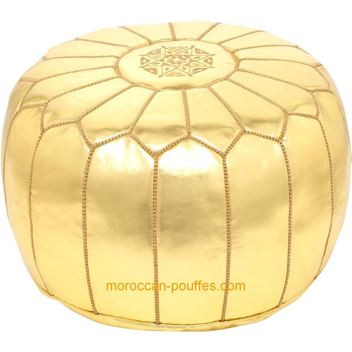amazoncom moroccan poufs leather luxury ottomans footstools gold  - amazoncom moroccan poufs leather luxury ottomans footstools goldunstuffed kitchen  dining