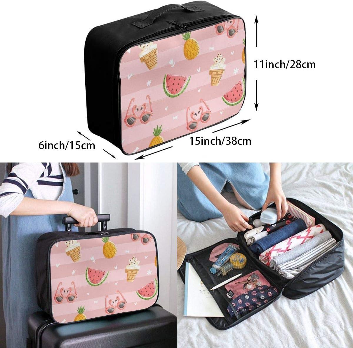 Yunshm Pink Summer Flamingo Personalized Trolley Handbag Waterproof Unisex Large Capacity For Business Travel Storage