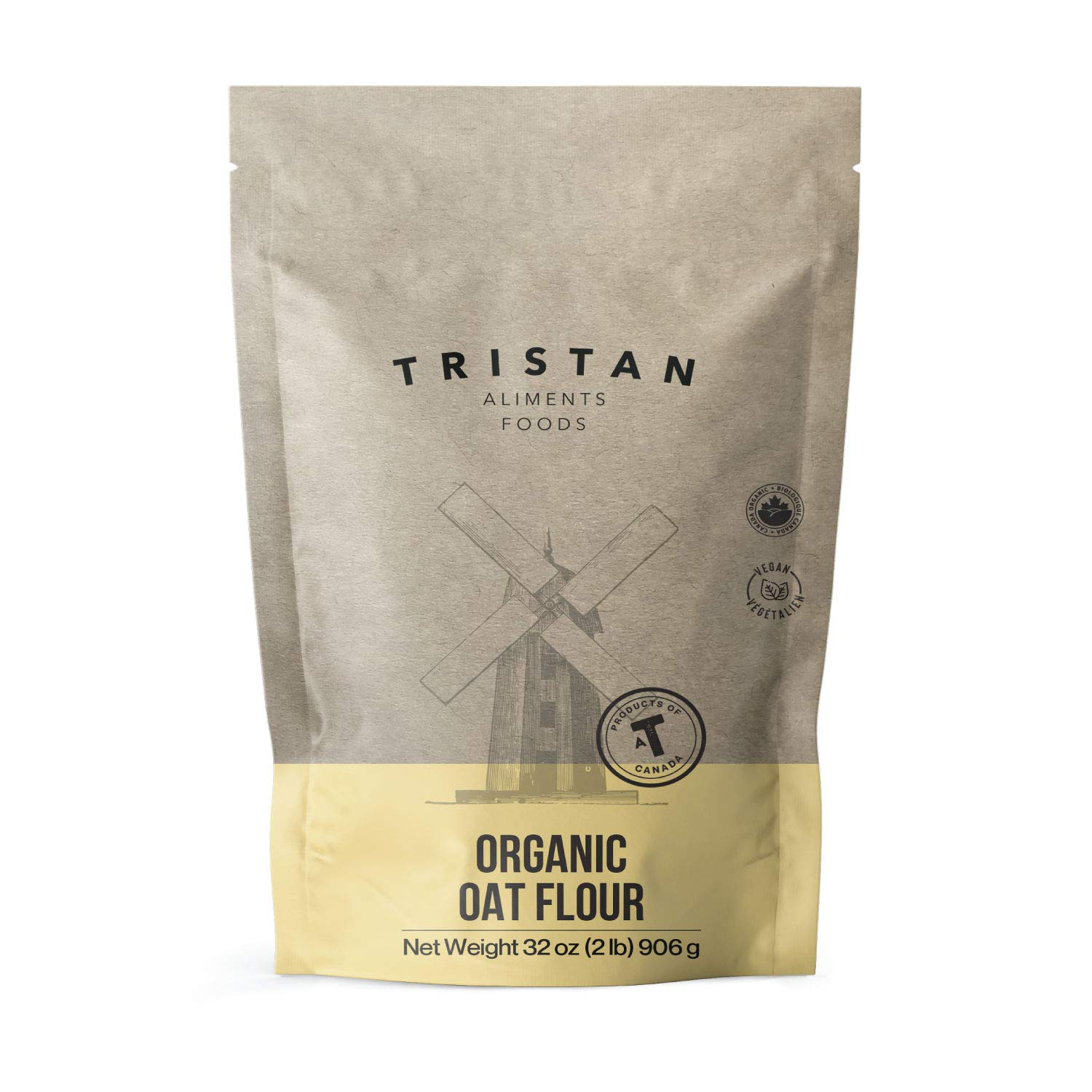 Tristan Foods Organic Oat Flour (2 lbs.) Pure and Vegan Friendly | Finely Ground Cooking and Baking Use | Cultivated in Canada