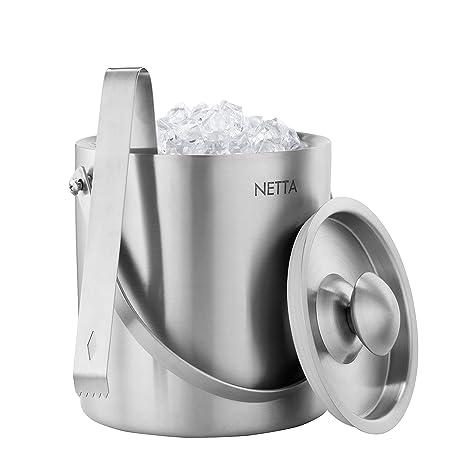 Netta - Cubitera de acero inoxidable de doble pared para hielo con pinzas y tapa, 2 litros