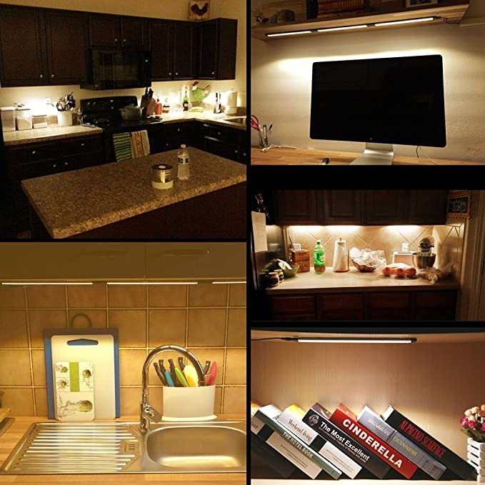 Le led under cabinet lighting dimmable under counter kitchen lighting touch control closet light 24w 1800lm 3000k warm white 48w fluorescent tube