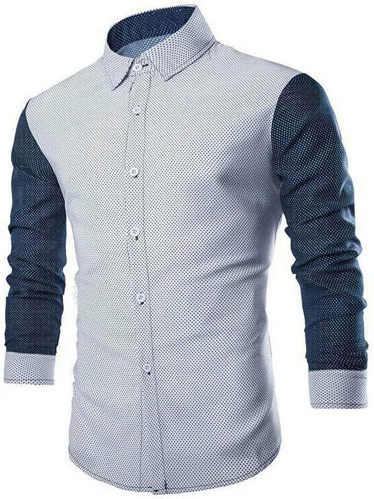 Moda para Hombre Camisa De Larga Casual Manga Ocasional Slim Fit Elegante Blusa Camisas Tops Otoño Vintage Camisas Tops (Color : Blanco, Size : M): Amazon.es: Ropa y accesorios