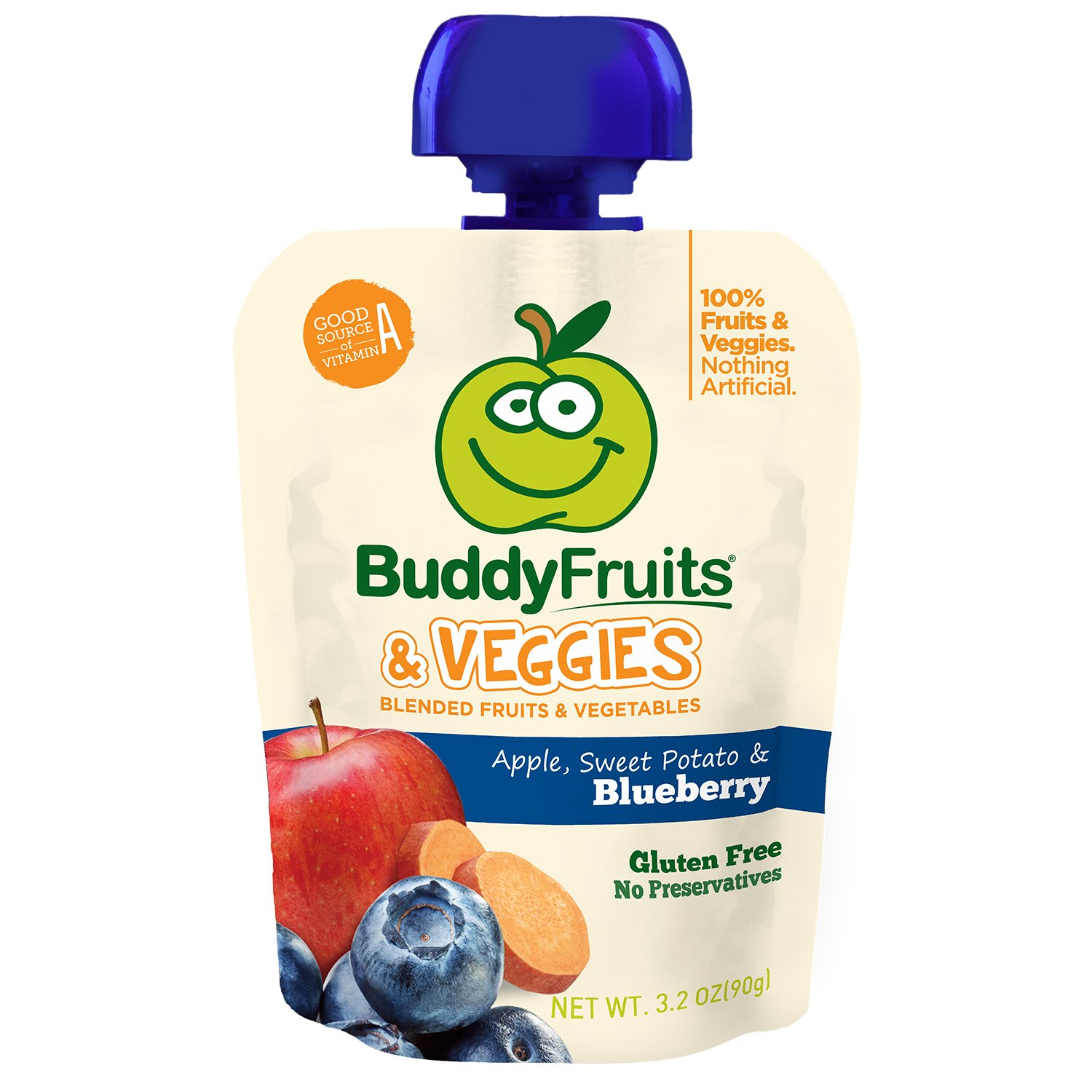 Buddy Fruits Blended Fruit and Veggies, Apple, Sweet Potato and Blueberry, 5.2 Pound (Pack of 14)