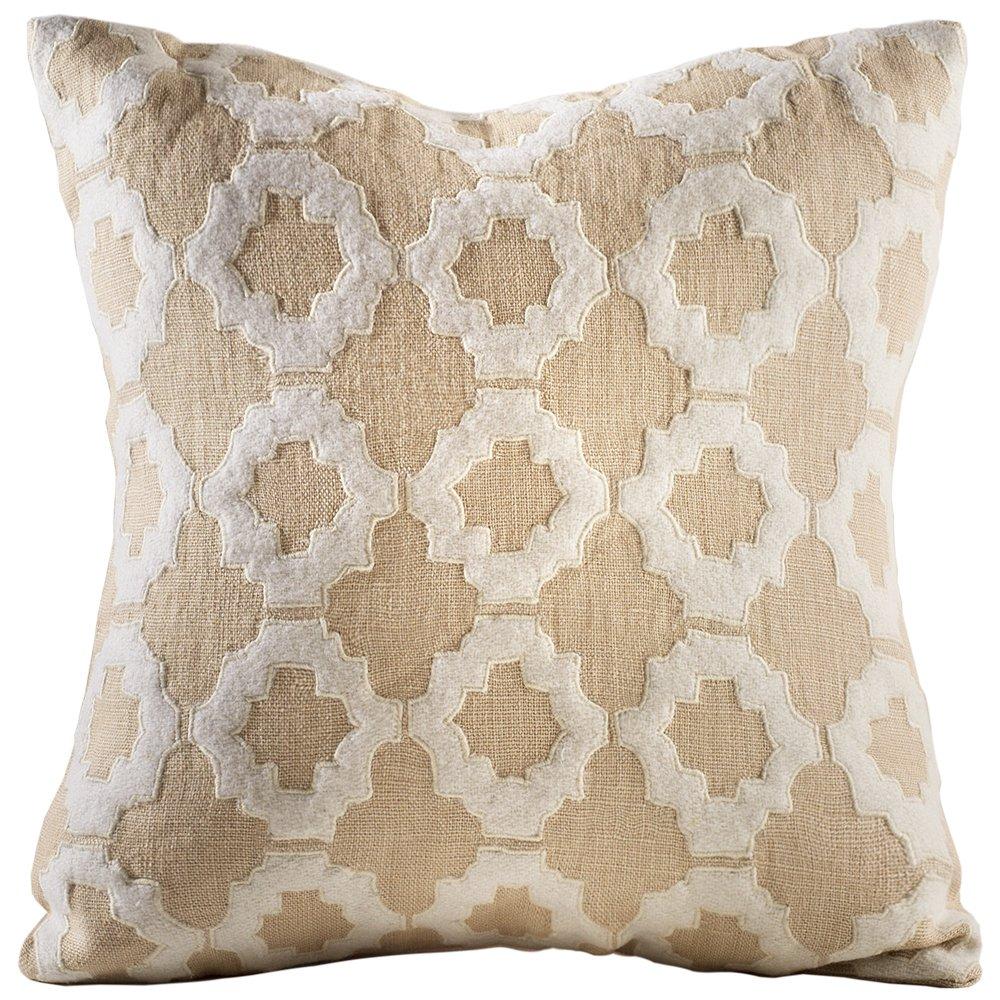 Chauran Aurora-Linen Applique 16x16 Pillow Cover Sand