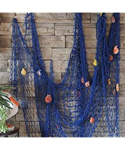HDMI SM Decorative Fishing Net Wall Decor with Seashells,Nautical Mediterranean Style Photo Wall Hanging Display Ornaments Decor Home,Birthday Theme Party,Bars Decoration,6.56ft x 3.28ft (Blue)