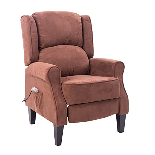HomCom Heated Vibrating Suede Massage Recliner Chair - Brown