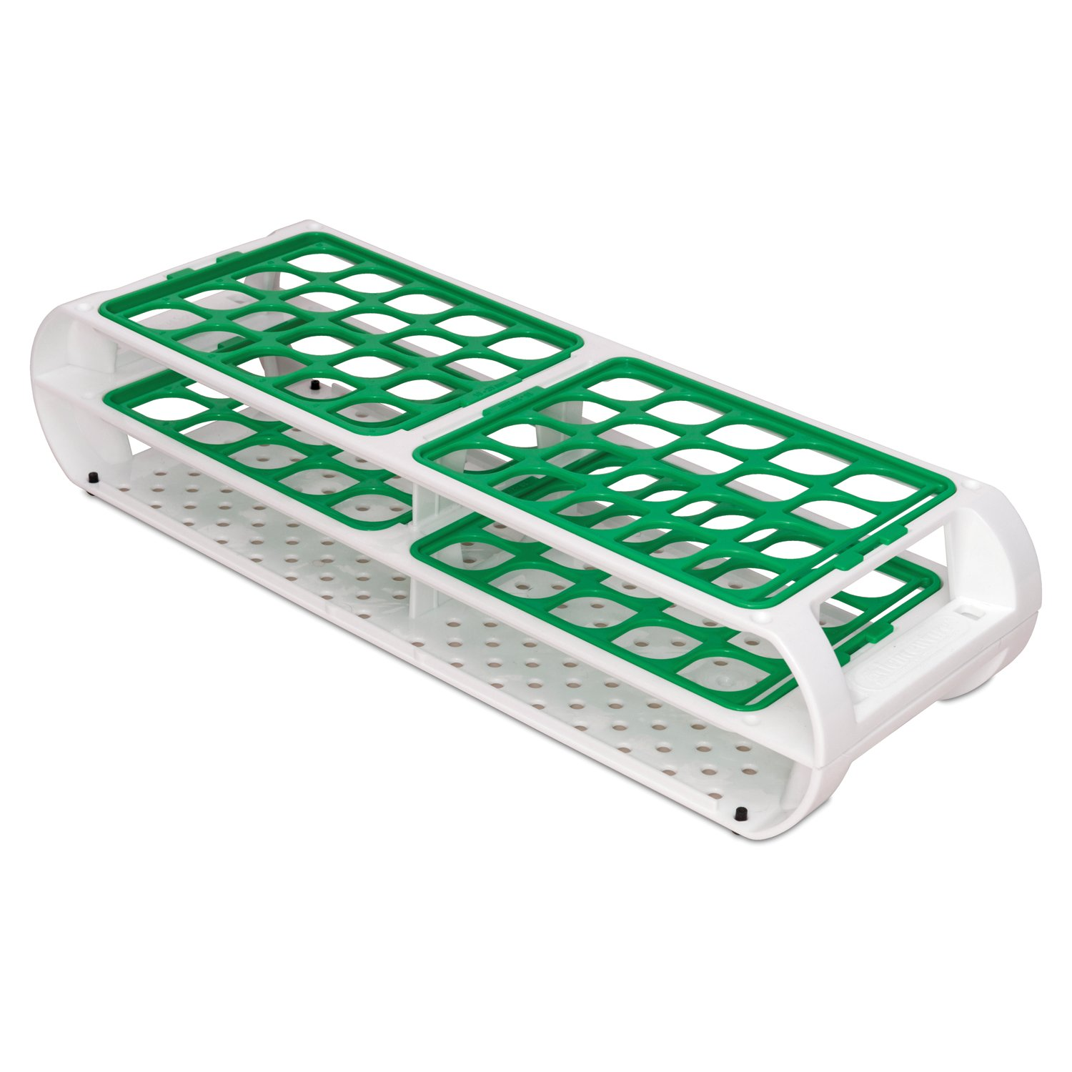 Bel-Art F18745-0012 Switch-Grid Test Tube Rack; 40 Places, 16-20mm, 12½ x 4⅜ x 2⅝ in., Green