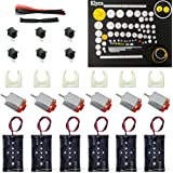 6 Set DC Motor Kit, Rectangular Mini Electric Motor 1.5-3V 24000RPM with 82 Pcs Plastic Gears,Electronic wire, 2 x AA Battery Holder ,Motor Mounting Bracket,Boat Rocker Switch for DIY Science Projects