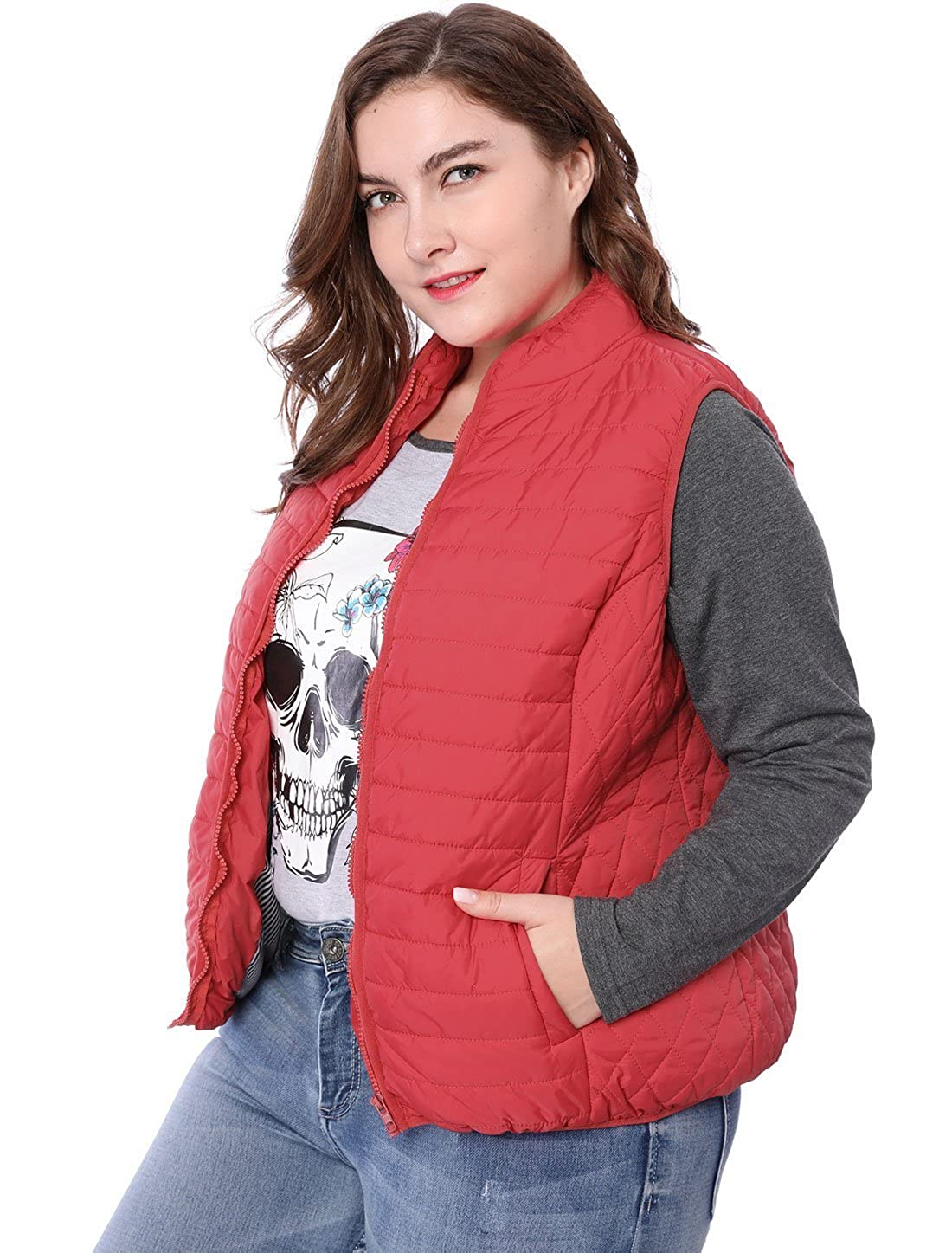 Agnes Orinda Women's Plus Size Stand Collar Quilted Padded Zip Vest