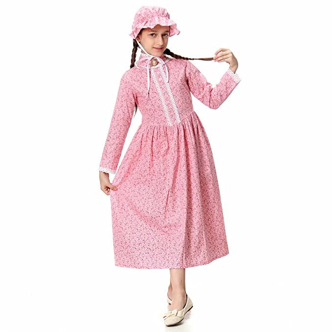 Victorian Kids Costumes & Shoes- Girls, Boys, Baby, Toddler  Prairie Pioneer Dress 100% Cotton KOGOGO Colonial Girl Costume $39.99 AT vintagedancer.com