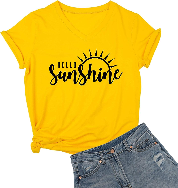 DANVOUY Womens Hello Sunshine Shirt Summer Short Sleeve V-Neck Graphic T-Shirt Nature Shirt Tops Tees