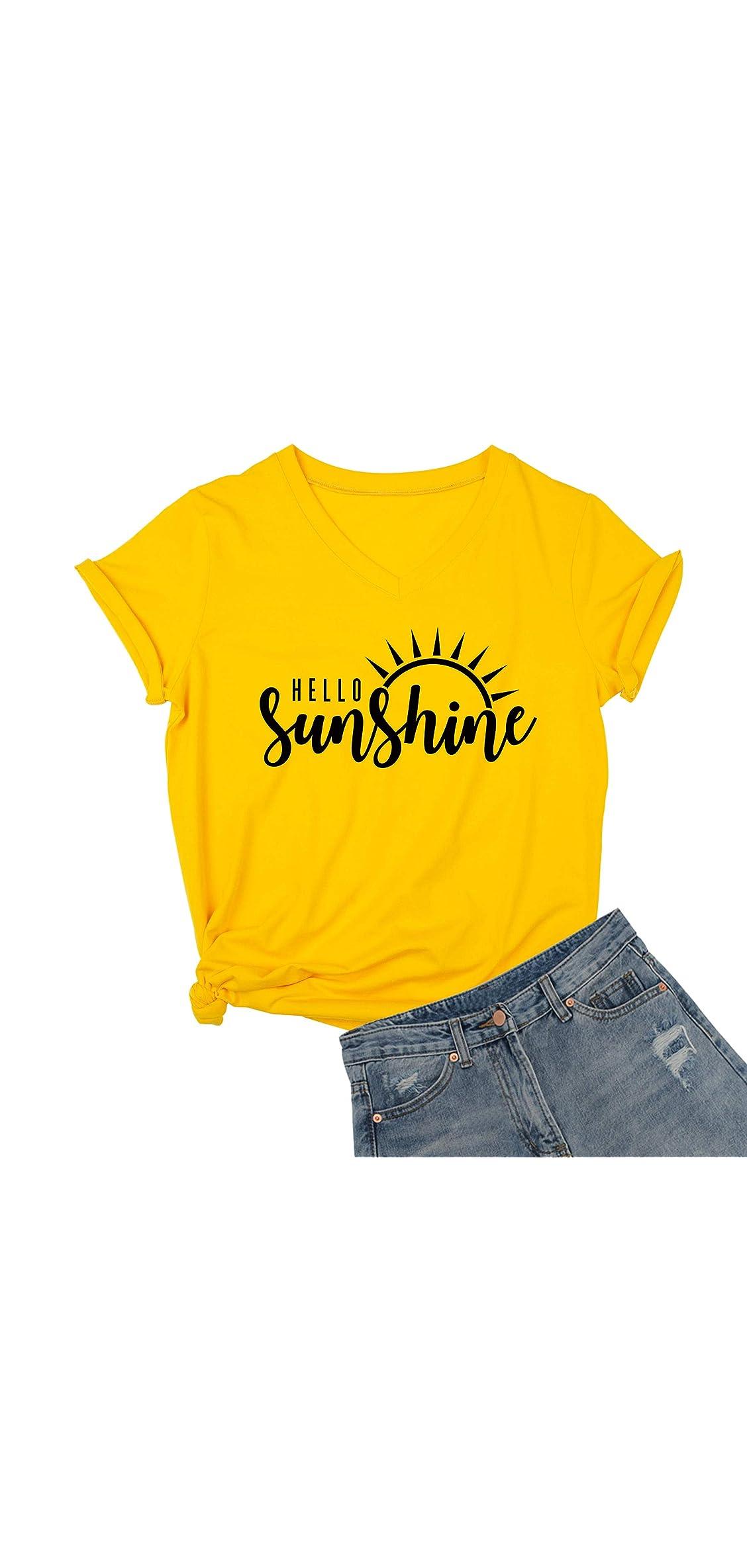 Womens Hello Sunshine Shirt Summer Short Sleeve V-neck