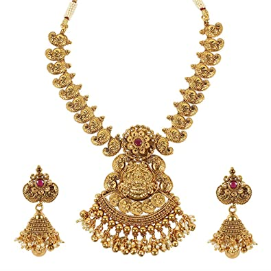 Muchmore Gold Tone Lord Laxmi Temple Jewellery Polki Necklace Set Indian Traditional Jewellery OJLlhqqpy