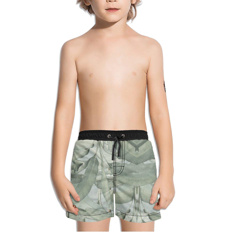 Ouxioaz Boys Swim Trunk Tropical Leaves Beach Board Shorts