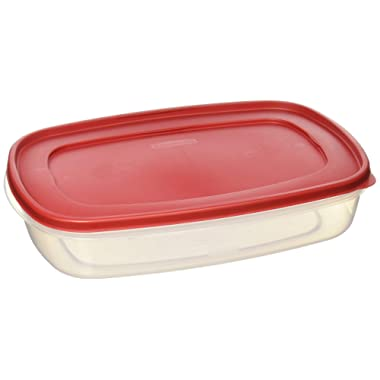 Rubbermaid 7J76 687965439399 Plastic Easy Find Lid Food Storage Container, 1.5 Gal, 1777163 Set of 2, 2, Red