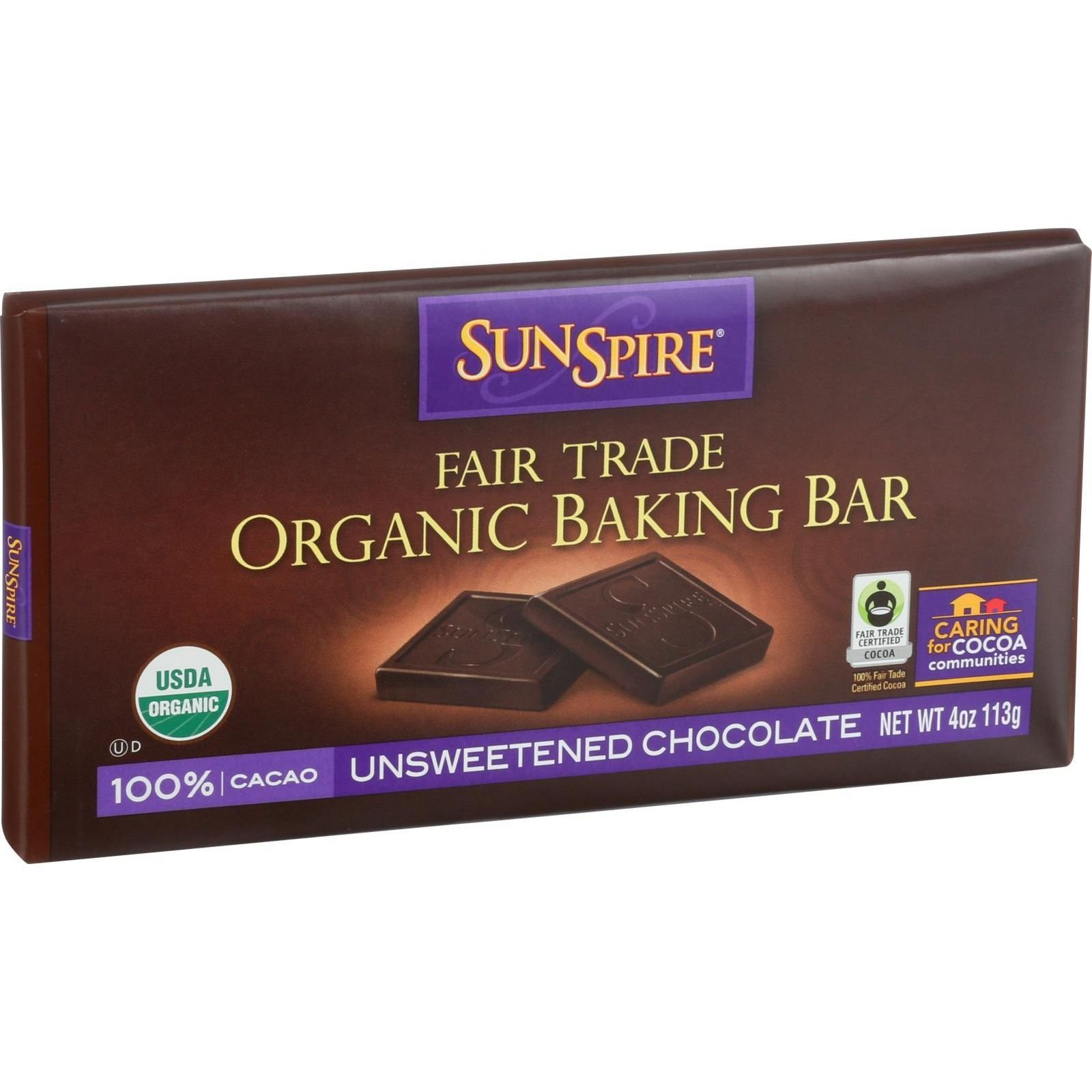 SunSpire Foods Baking Bar - Organic - Fair Trade - 100 Percent Cocoa - 4 oz Bars - Case of 12 - Unsweetened chocolate