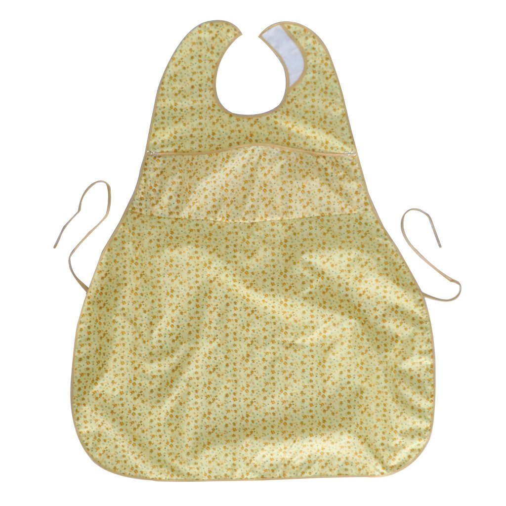 D DOLITY Waterproof Adult Mealtime Pocket Bibs Saliva Towel Cotton Aid Eating Apron for Bedridden, Patients who Lack Ability to Have Meal - Yellow