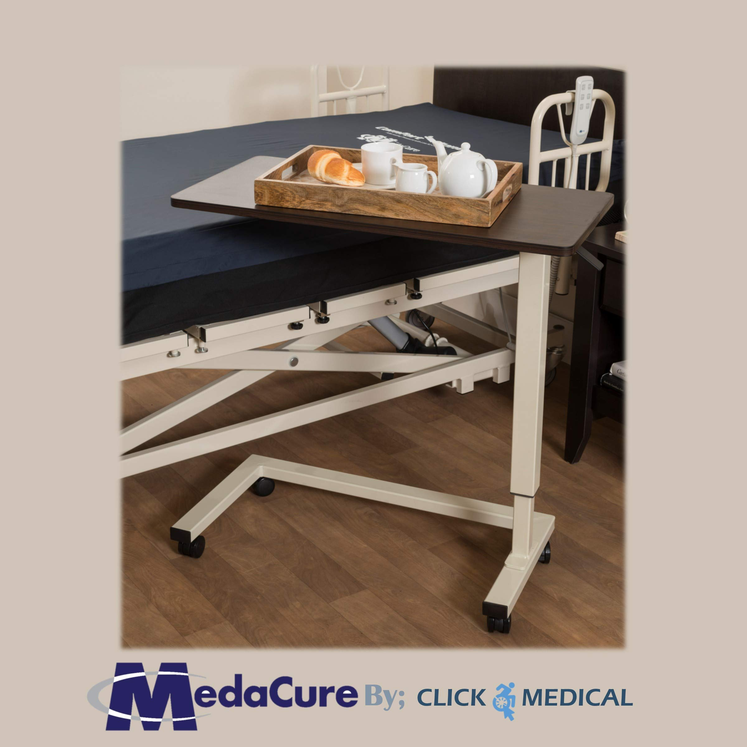 Medical Height Adjustable Overbed Table - Flame Resistant and Anti-Spill Rim - Heavy Duty Steel Frame and Swivel Locking Casters for Home, Hospital,Laptop, and Breakfast– 50lb Weight Capacity. (Oak) by Medacure (Image #6)