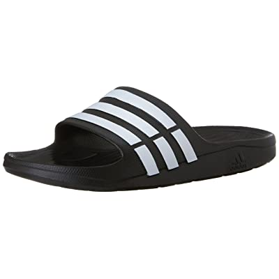 adidas Duramo Slide Sandal, Black/White/Black, 19 M US Women's/17 M US Men's | Sport Sandals & Slides