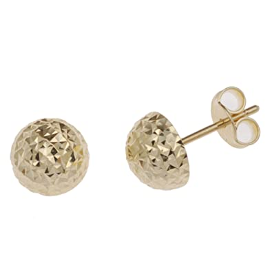 5de68f56e Adara 9 ct Yellow Gold Crimbled Half Ball Stud Earrings: Amazon.co.uk:  Jewellery
