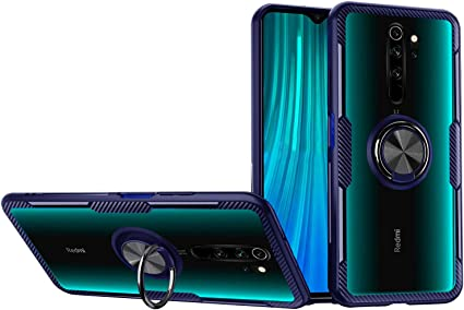 Amazon Com Redmi Note 8 Pro Case Hard Transparent Back Crystal Clear 360 Ring Stand Shock Absorption Slim Shockproof Protective Cover Compatible With Xiaomi Note8 Pro Blue Redmi Note8 Pro Electronics